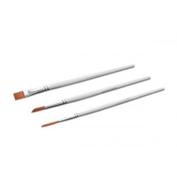 KIT 1 - 3 DECOR BRUSHES WITH TIP: TRIANGULAR, FLAT, LONG